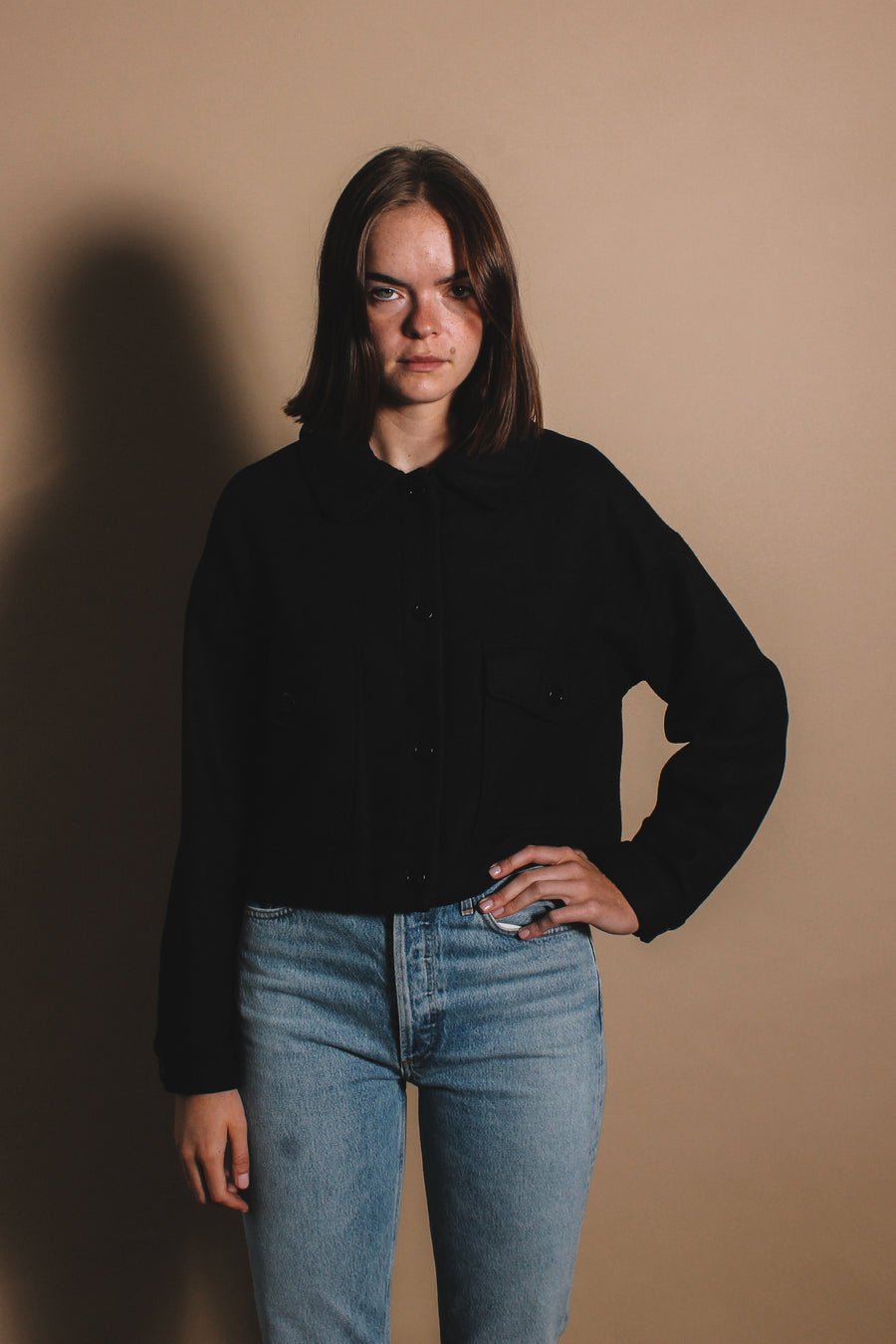 Rita Row wool cropped military style jacket black | pipe and row