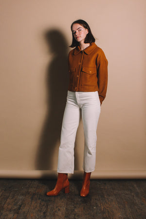 Rita Row wool cropped military style jacket ochre camel mustard | pipe and row