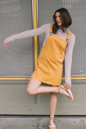 Corduroy pinafore dress mustard khaki tan | PIPE AND ROW