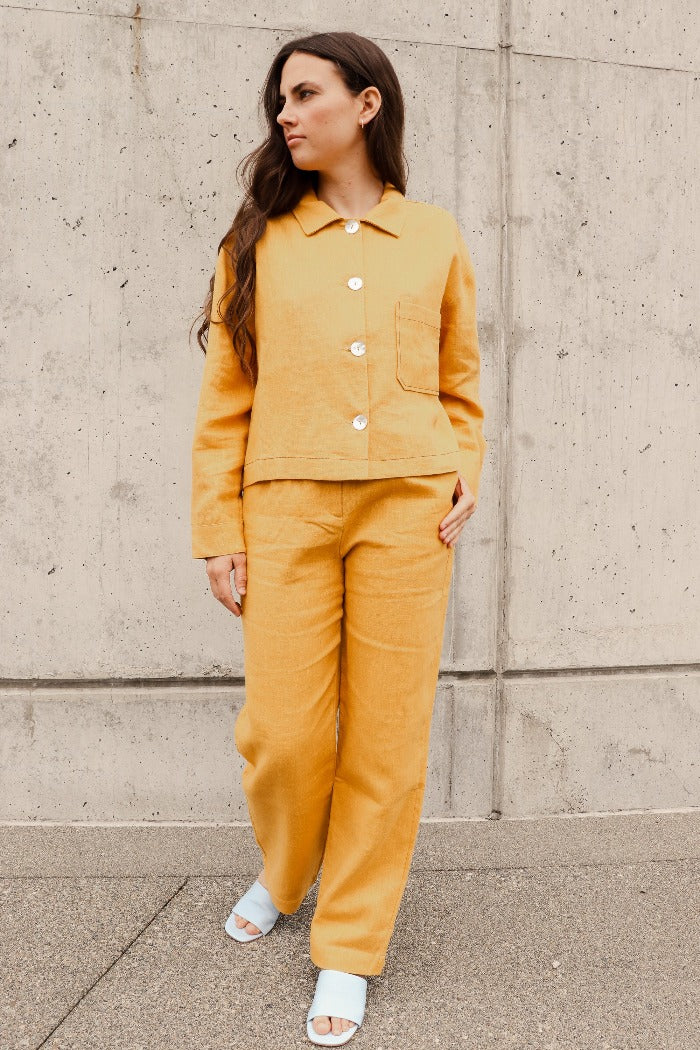Paloma Wool Shanghai linen trousers pantochre mustard | Pipe and row boutique Seattle Fremont