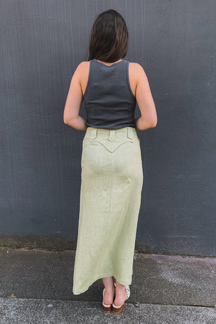 Paloma Wool Tonnes high waist linen skirt western lime green | pipe and row