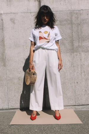 Wide leg tailored trouser ivory Mijeong Park | pipe and row seattle