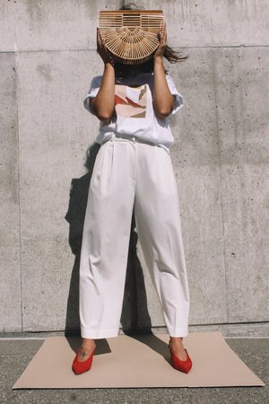 Wide leg crop tailored trouser ivory Mijeong Park | pipe and row