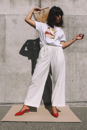 Wide leg tailored trouser cream Mijeong Park | pipe and row