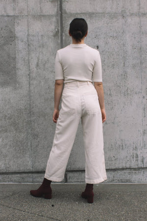 Lacausa's Stella Trousers canvas high waist cropped off white | Pipe and row