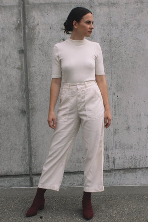 Lacausa cream parchment ribbed mock-neck short sleeve sweater stella trousers mya stretch boots | pipe and row