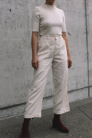 Lacausa's Stella Trousers textured high waist cropped parchment cream | Pipe and row