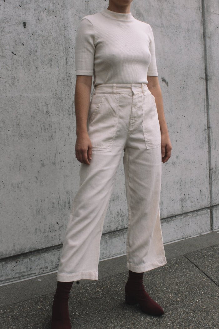 Lacausa's Stella Trousers canvas high waist cropped parchment cream | Pipe and row