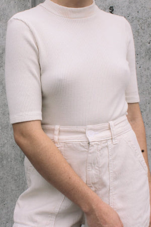 Lacausa off white parchment ribbed mock-neck short sleeve sweater | pipe and row