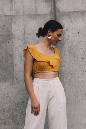 Rue Stiic Anza linen crop top honey yellow | Pipe and row seattle