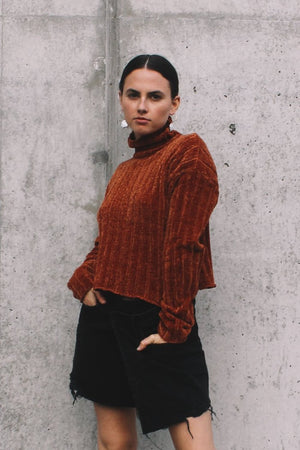 Cropped textured, turtleneck Dune  sweater rust and denim skirt PIPE AND ROW Staples
