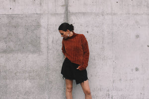 Cropped textured, cozy, turtleneck Dune sweater rust PIPE AND ROW Staples