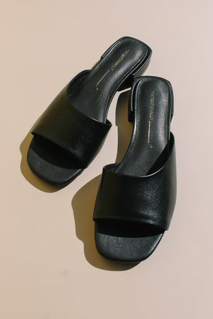 Intentionally Blank Jessi slide in black leather sandal summer | Pipe and Row boutique