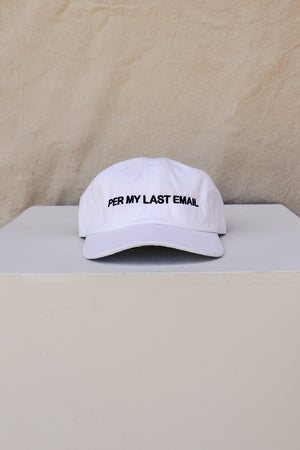 PER MY LAST EMAIL HAT WHITE