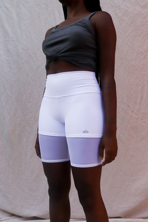 HIGH WAIST LAVISH BIKE SHORTS WHITE