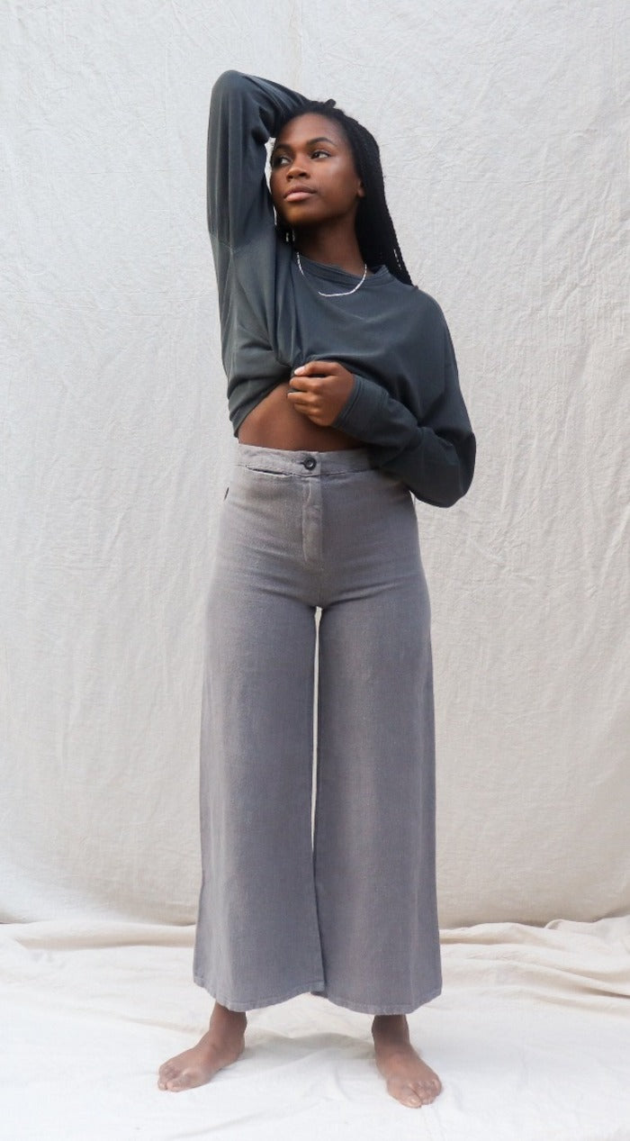 LEXI LINEN WIDE LEG PANTS GREY