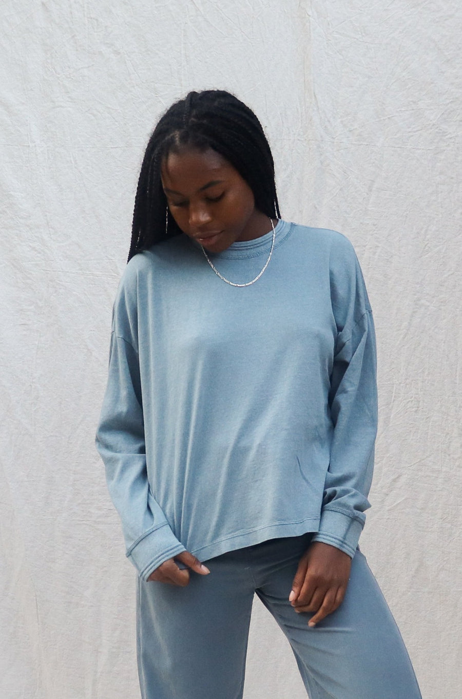 RELAXED LONG SLEEVE PULLOVER BLUE MIRAGE
