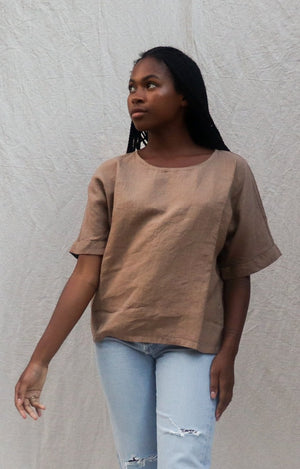 Filosofia Zoe linen short sleeve top | pipe and row boutique shop small business fremont seattle