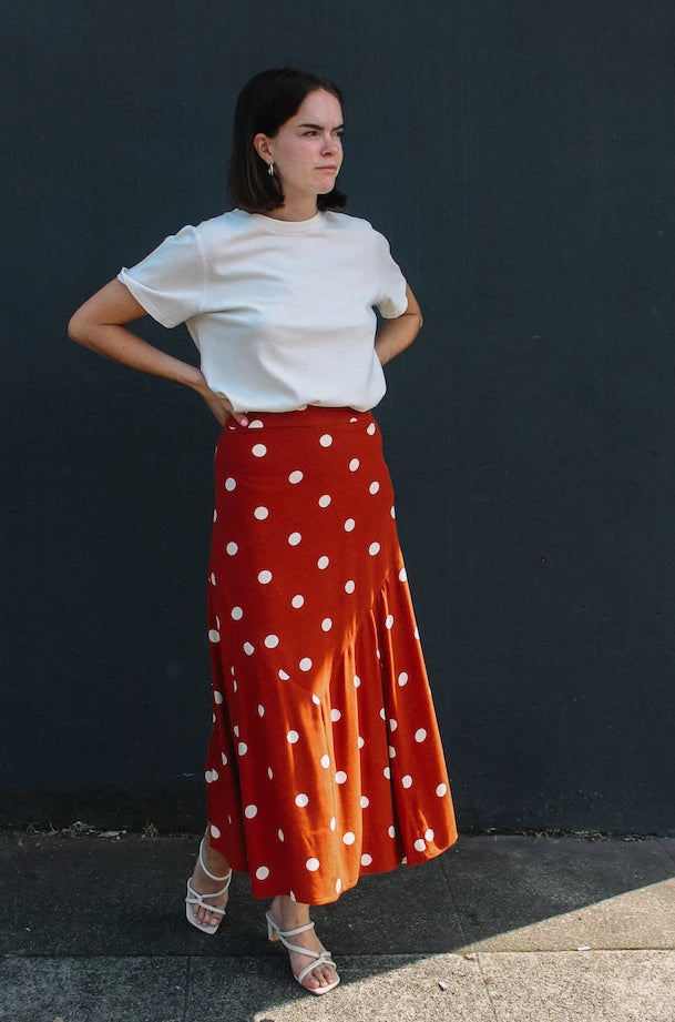 Just Female red and cream polka dot Caia maxi skirt PIPE AND ROW