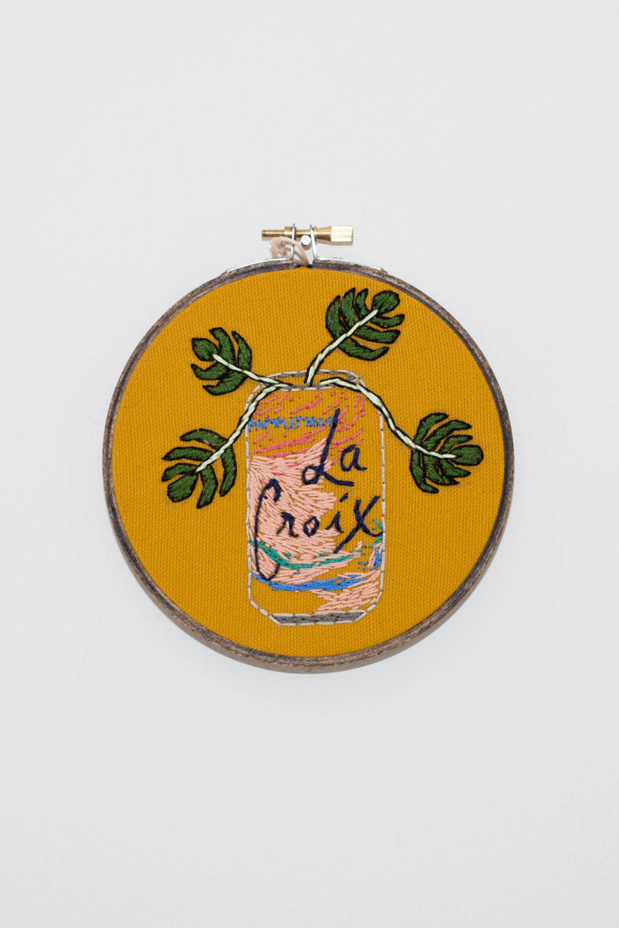 Pamplemousse La Croix embroidery Cross Stitch can with monstera leaf | PIPE AND ROW Seattle