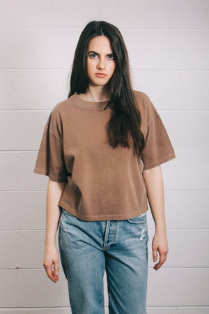 Filo sofia Jade tee wheat subtly cropped, boxy t-shirt ethical | pipe and row