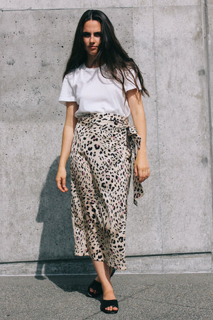 Never Fully Dressed Jaspre wrap midi skirt silky leopard print PIPE AND ROW