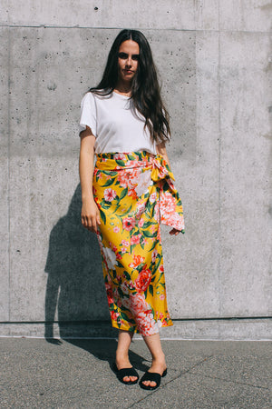 Never Fully Dressed Jaspre wrap midi skirt yellow floral print PIPE AND ROW