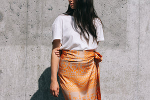 Jaspre shiny wrap midi skirt orange geometric tan print PIPE AND ROW