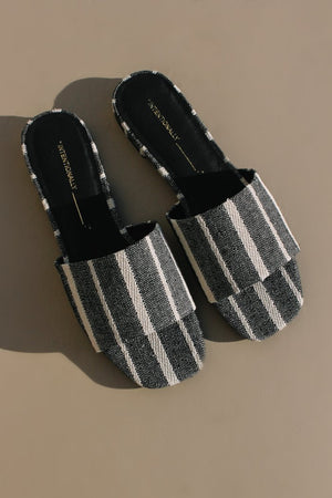 Intentionally Blank Jessica linen stripe sandal | pipe and row