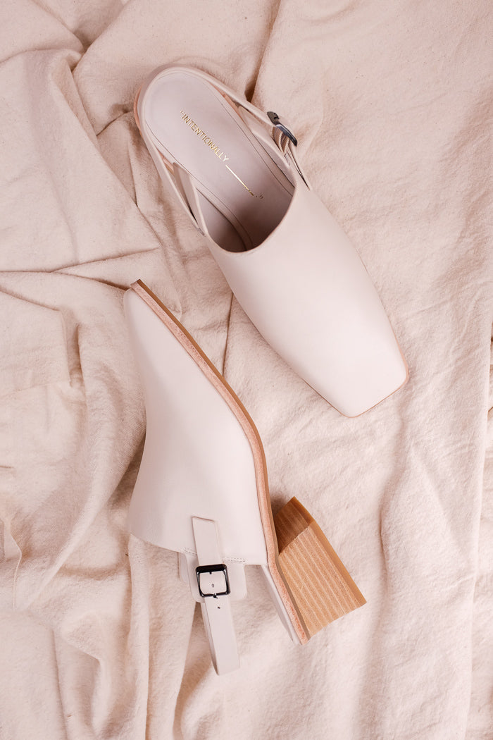 Intentionally Blank cream white Jio leather square toe mule | pipe and row boutique