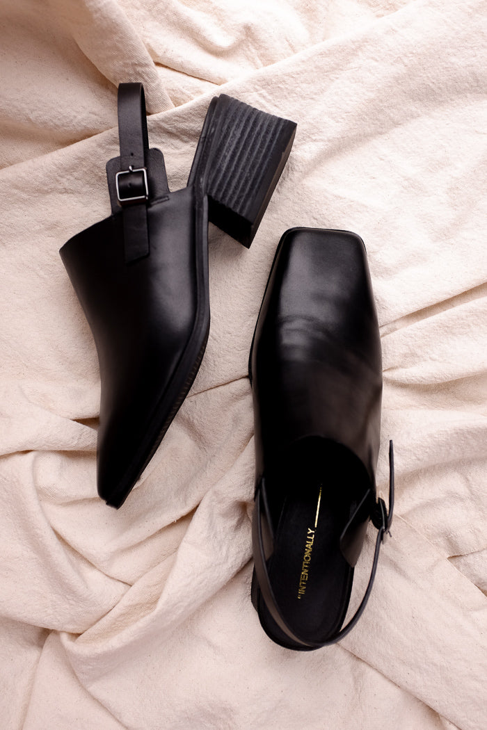 Intentionally Blank black Jio leather square toe mule | pipe and row boutique
