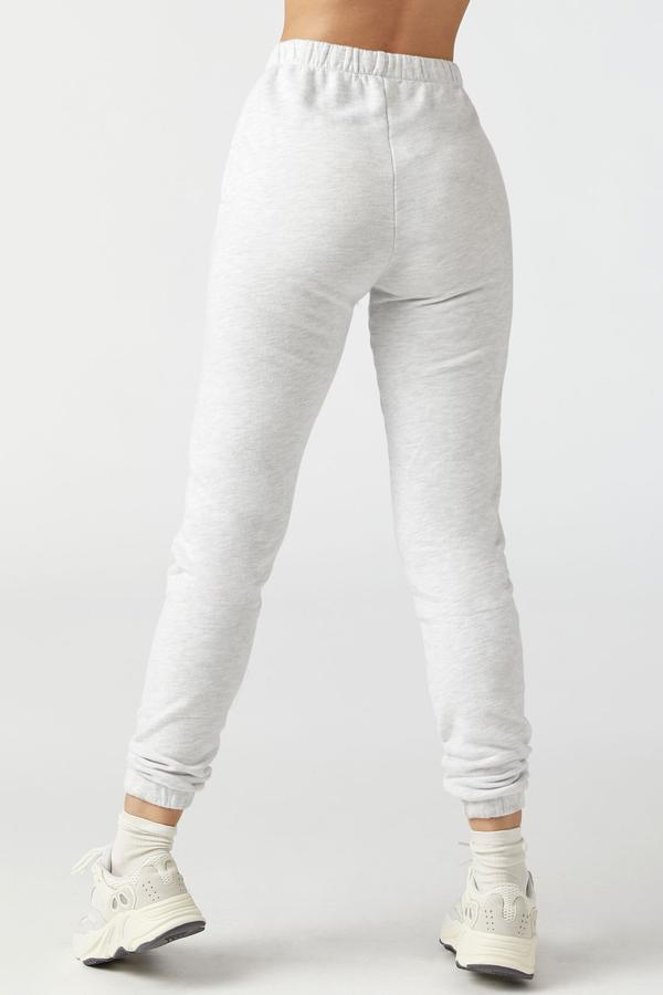 Joah Brown Empire high waist french terry jogger pearl grey | Pipe and row