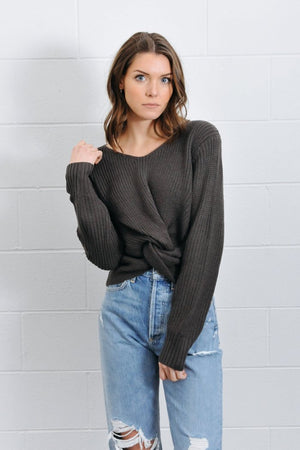 Jojo knot twist front charcoal knit sweater Pipe and Row boutique