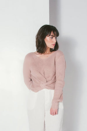 Jojo Reversible knit pink Twist Sweater | Pipe and Row Boutique Seattle