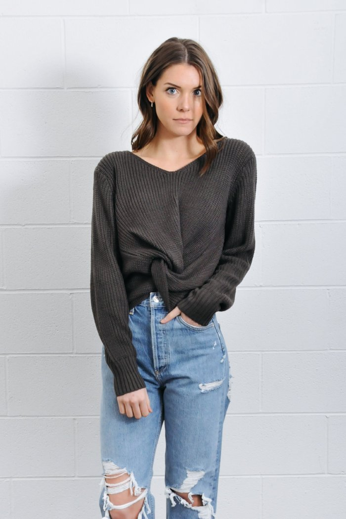 Jojo Twist knot Charcoal Grey Sweater | Pipe and Row Boutique Seattle