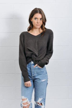 Jojo Twist charcoal grey knit Sweater | Pipe and Row Boutique Seattle