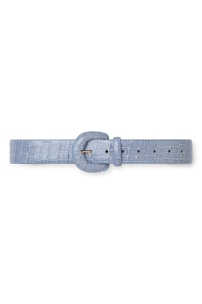 Paloma Wool Judy leather embossed belt rounded light blue | Pipe and Row