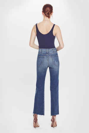 Mother Tripper weekender crop flare ankle fray Just One Sip medium blue | PIPE AND ROW Seattle