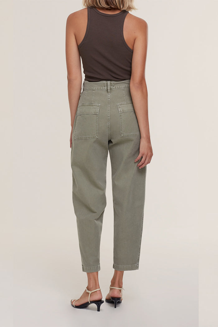 Agolde Kai cargo pants canvas high waist edamame surplus green | Pipe and Row