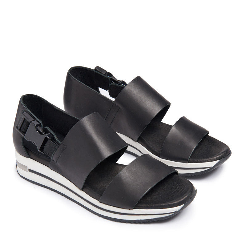 MIISTA KAREN BLACK PLAIN WHITE SWEDGE COMFORT SANDALS | PIPE AND ROW