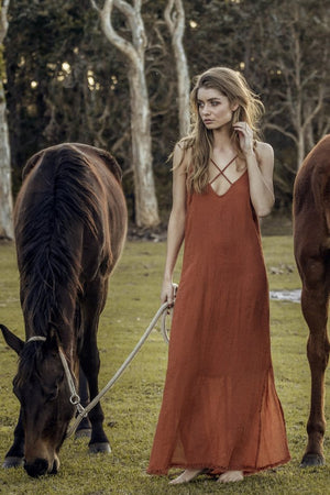 Rue Stiic Criss cross linen long dress terracotta | pipe and row seattle