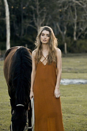 Rue Stiic Criss cross linen maxi dress terracotta | pipe and row seattle