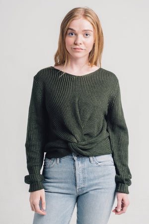 Jojo knot twist front forest green sweater Pipe and Row boutique