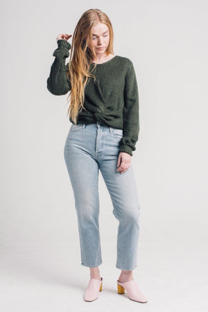 Jojo twist front sweater Pipe and Row boutique forest green