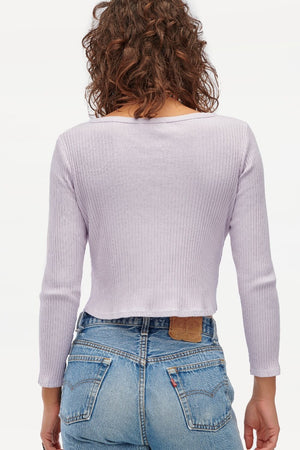 Lacausa Lucy ribbed pastel lilac button up cardigan crop | pipe and row boutique