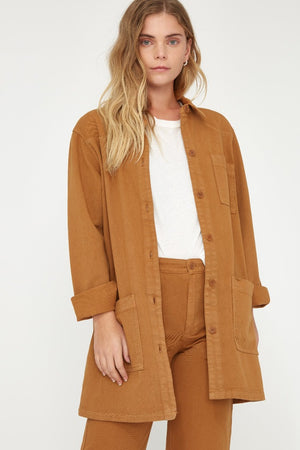 Lacausa Fletcher Jacket reishi camel  oversized chore coat | Pipe and RowLacausa Fletcher Jacket reishi green chore | pipe and row boutique seattle