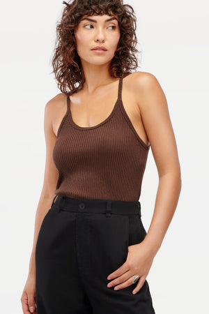 LANA RIBBED TANK top crop chocolate | pipe and row boutique