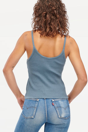 Lacausa Lana ribbed tank top steel blue | Pipe and row boutique seattle