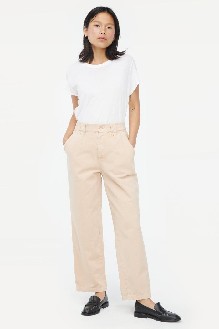 Lacausa Cedar trousers bull denim brown toast | Pipe and Row boutique