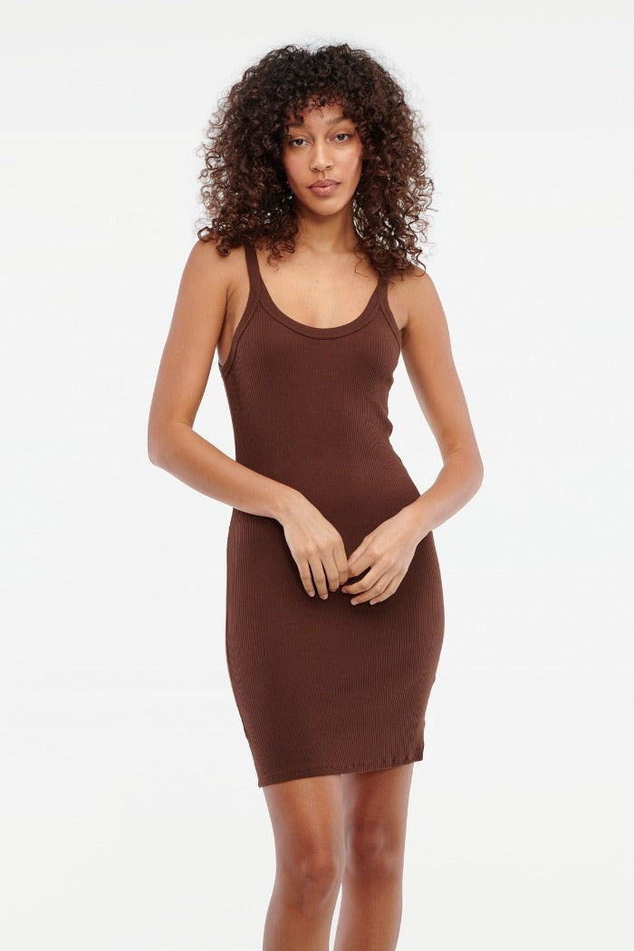 Lacausa Maya slip dress chocolate brown | Pipe and Row boutique Seattle
